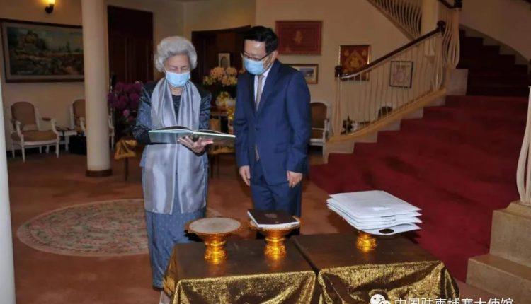 中国驻柬埔寨大使王文天向莫尼列太后祝贺寿辰